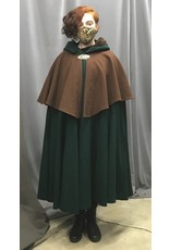 Cloak and Dagger Creations 4361 - Washable Brown-Mantled Green Cloak, Brown Lined Hood