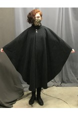 Cloak and Dagger Creations 4363 - Washable Charcoal Grey Ruana-style Cloak w/Lined Collar Pewter Buttons