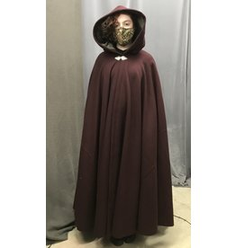 Cloak and Dagger Creations 4366 - Burgundy Red  Woolen Full Circle Cloak, Grey Hood  Lining, Pewter Clasp