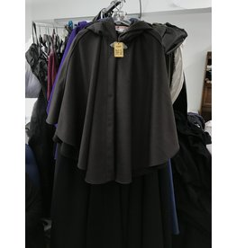 Cloak and Dagger Creations 4354 - Brown Shaped Shoulder Ruana-Style Cloak, Unlined Hood, Pewter Clasp