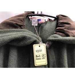 Cloak and Dagger Creations 4381 - Washed Moss Green Wool Full Circle Cloak, Brown Hood Lining, Pewter Clasp