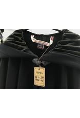 Cloak and Dagger Creations 4386 - Black Wool Full Circle Cloak, Olive Green Velvet Hood Lining, Pewter Clasp