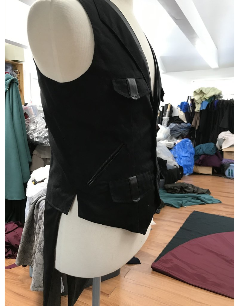 Cloak and Dagger Creations J711 - Upcycled Black Vest w/Tails & Pockets