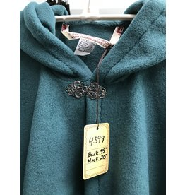 Cloak and Dagger Creations 4399 - Easy Care Teal Green Full Circle Ruana Style Cloak, Pewter Clasp
