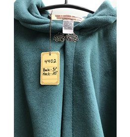 Cloak and Dagger Creations 4402 - Easy Care Teal Green Shorter Full Circle Cloak, Pewter Clasp