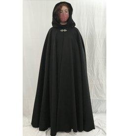 Cloak and Dagger Creations 4382 - Black Wool Extra Long Full Circle Cloak, Green Velvet Hood Lining, Pewter Clasp
