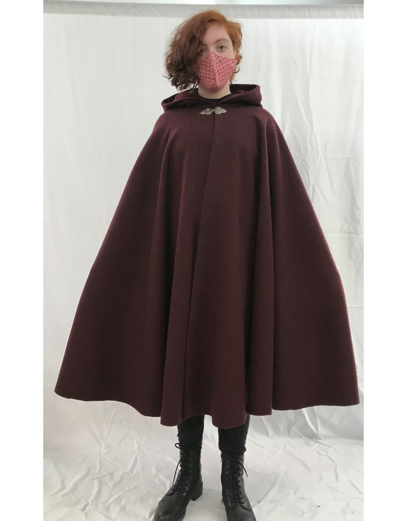 Cloak and Dagger Creations 4380 - Burgundy Red Woolen Ruana-Style Cloak, Red Hood Lining, Pewter Clasp