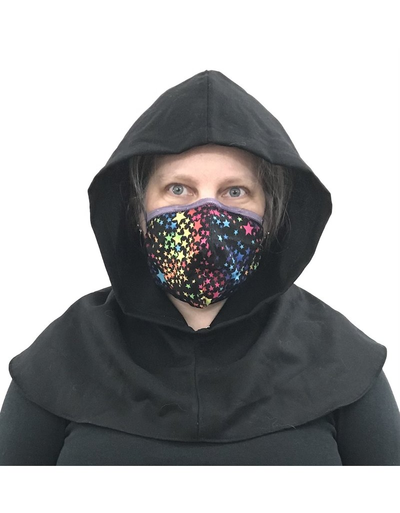 Cloak and Dagger Creations H285 - Hooded Cowl in Black Wool Twill