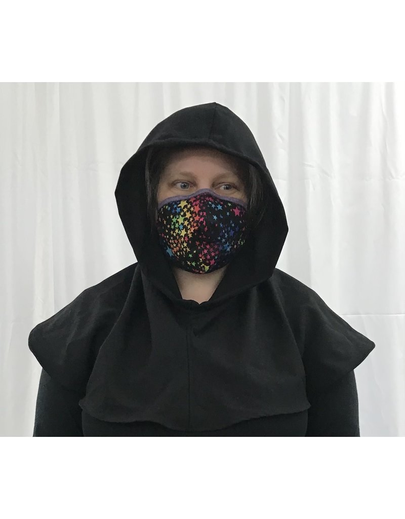 Cloak and Dagger Creations H293 - Hooded Cowl in Washable Black Wool Suiting