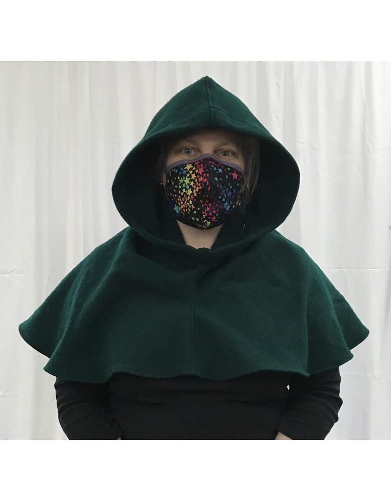 Cloak and Dagger Creations H296 - Hooded Cowl in Green Washed Wool