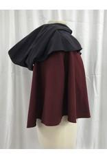 Cloak and Dagger Creations 4196 - Burgandy Red Shaped Shoulder Short Cloak w/3-Strand Braid Trim, Navy Mantle & Hood, Closure Antiqued Brass Clasp