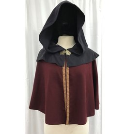 Cloak and Dagger Creations 4196 - Burgandy Red Shaped Shoulder Short Cloak w/3-Strand Braid Trim, Navy Mantle & Hood, Closure Antiqued Brass Clasp