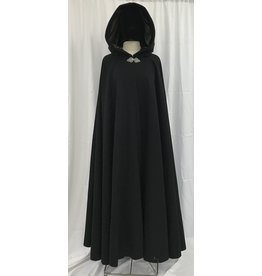 Cloak and Dagger Creations 4386 - Black Wool Full Circle Cloak, Olive Green Velvet Hood Lining, Pewter Clasp