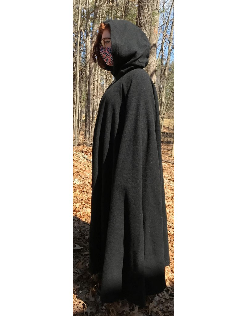 Cloak and Dagger Creations 4384 - Washable Black Wool Cloak, Blue Hood Lining, Pewter Clasp