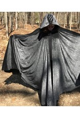 Cloak and Dagger Creations 4388 -  Silvered Leaf Print Extra Long Full Circle Cloak, Black Hood Lining, Pewter Clasp