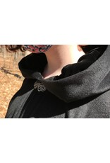 Cloak and Dagger Creations 4392 - Black Extra Long Angora Wool  Full Circle Cloak, Black Hood Lining, Pewter Clasp