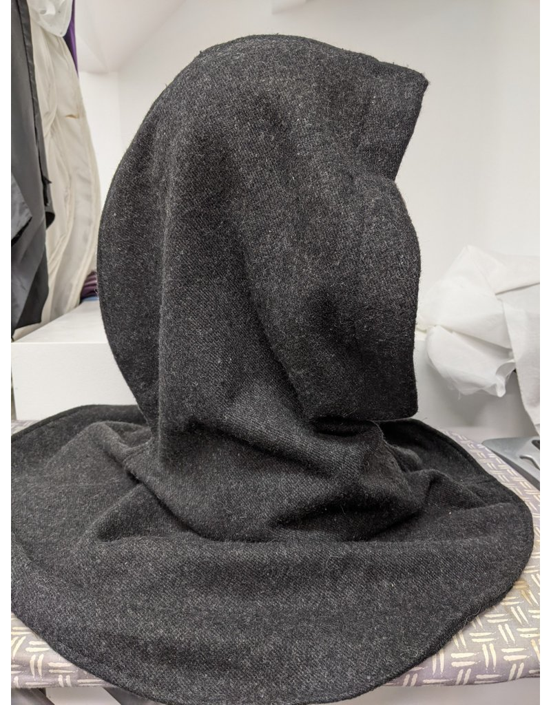 Cloak and Dagger Creations H299 - Hooded Cowl in Washable Charcoal Grey Woolen Twill Coating