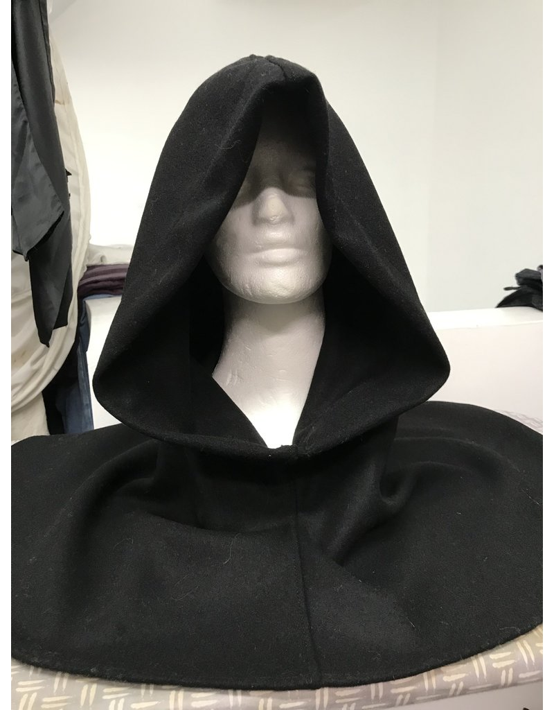 Cloak and Dagger Creations H302 - Black Wool Winter-Weight Hooded Cowl