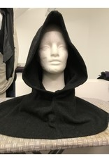 Cloak and Dagger Creations H304 - Washable Charcoal Black Woolen Hooded Cowl