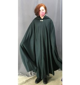 Cloak and Dagger Creations 4396 - Dusky Green Woolen Full Circle Cloak, Purple Hood Lining, Pewter Clasp