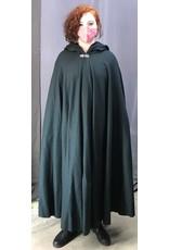 Cloak and Dagger Creations 4396 - Dusky Green Woolen Full Circle Cloak, Purple Hood Lining, Pewter Clasp