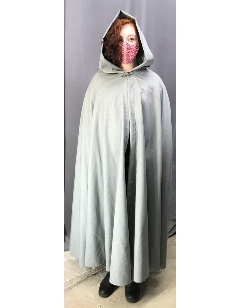 Cloak and Dagger Creations 4398 - Washable Light Grey Shaped Shoulder Cloak w/Liripipe Hood, Pewter Clasp