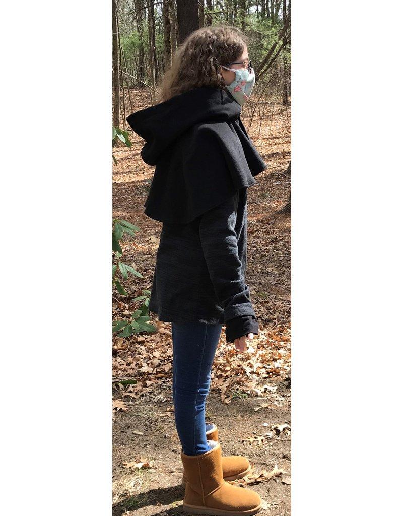 Cloak and Dagger Creations 4416 - Black Woolen Short Cloak, Unlined Hood,  Black Clasp
