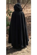 Cloak and Dagger Creations 4415 - Washable Charcoal Grey Wool Shaped Shoulder Cloak w/ Pockets Burgundy Red Hood Lining, Pewter Clasp