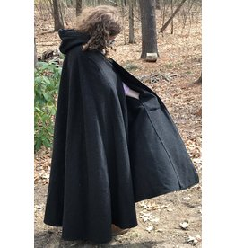 Cloak and Dagger Creations 4415 - Washable Charcoal Grey Woolen Shaped Shoulder Cloak, Burgundy Red Hood Lining, Pewter Clasp, Pockets!