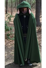 Cloak and Dagger Creations 4409 - Fern Green Windpro Full Circle Cloak, Unlined Hood, Pewter Clasp