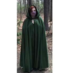 Cloak and Dagger Creations 4409 - Fern Green Windpro Full Circle Cloak, Unlined Hood, Pewter Clasp