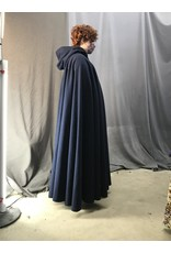 Cloak and Dagger Creations 4405 - Washable Navy Blue Woolen Full Circle Cloak, Burgundy Red Hood Lining, Pewter Clasp
