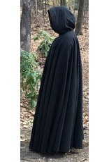 Cloak and Dagger Creations 4412 - Washable Charcoal Grey Long Full Circle Cloak, Blue Hood Lining, Pewter Clasp