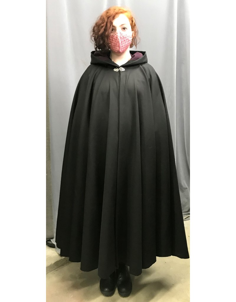 Cloak and Dagger Creations 4391 - Black Full Circle Cloak, Purple Hood Lining, Pewter Clasp