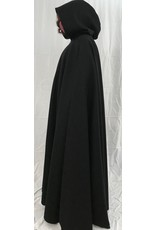 Cloak and Dagger Creations 4377 - Black Wool Extra Long Full Circle Cloak, Grey Hood Lining, Pewter Clasp