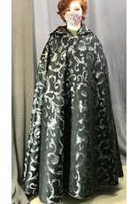 Cloak and Dagger Creations 4411 - Easy Care Full Circle Cloak, Black w/Silver Flourishes, Burgundy Red Hood Lining, Pewter Clasp
