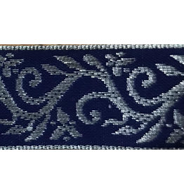 Cloak and Dagger Creations Formal Vine Trim, Silver on Blue