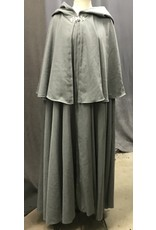 Cloak and Dagger Creations 4400 - Washable Light Grey Mantled Woolen Full Circle Cloak w/ Pewter Clasp