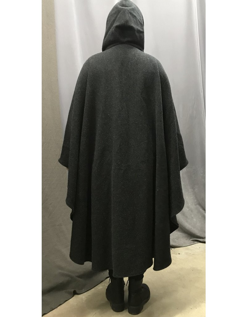 Cloak and Dagger Creations 4369 - Washable Charcoal Grey Woolen Ruana-style Cloak, Burgundy Hood Lining, Pewter Clasp