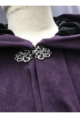Cloak and Dagger Creations 4370 - Easy Care Long Purple Full Circle Cloak, Black Hood Lining, Pewter Clasp