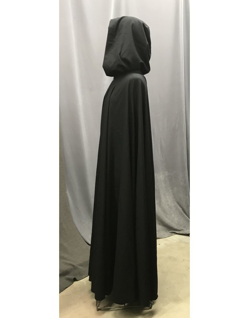 Cloak and Dagger Creations 4365 - Lightweight Wool Black Full Circle Cloak, Unlined Hood, Pewter Clasp