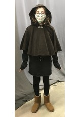 Cloak and Dagger Creations 4367 - Brown Brushed Cotton Short Cloak, Unlined Hood, Pewter Clasp