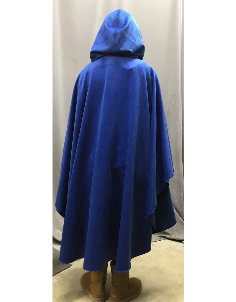 Cloak and Dagger Creations 4282 - Medium Blue Wool Blend Ruana-Style Cloak, , Black Hood Lining, Pewter Vale Clasp