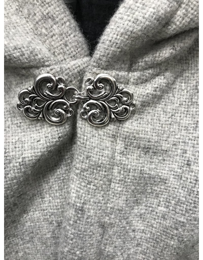Cloak and Dagger Creations 4353 - Short Grey Rustic Weave Shaped Shoulder Wool Cloak, Pewter Clasp