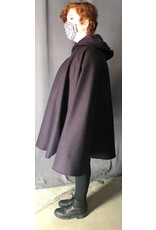 Cloak and Dagger Creations 4368 - Winter Cloak in Plum Wool, Purple Hood Lining, Pewter Clasp