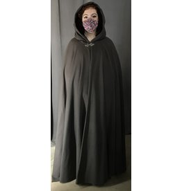 Cloak and Dagger Creations 4407 - Grey Brown Full Circle Cloak, Burgundy Red Hood Lining, Pewter Clasp
