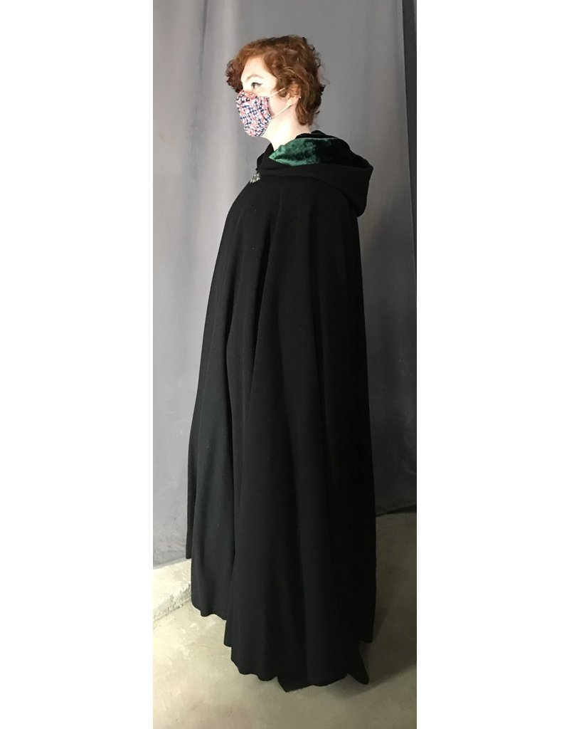 Cloak and Dagger Creations 4397 - Easy Care Black Wool Full Circle Cloak, Hunter Green Hood Lining, Pewter Clasp