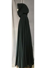 Cloak and Dagger Creations 4413 - Washable, Dusky Green Full Circle Cloak w/Silvery Velvet Hood Lining, Pewter Claps