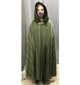 Cloak and Dagger Creations 4417- Washable Mossy Green Stripe Woolen Cloak, Olive Green Moleskin Hood, Pewter Clasp