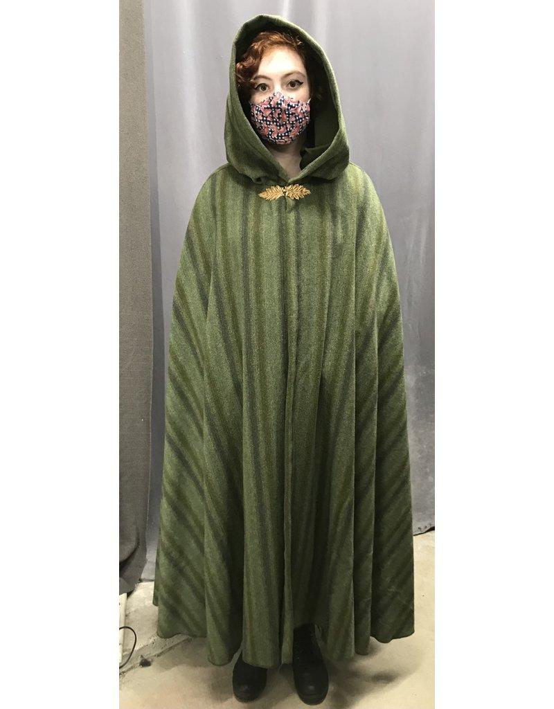 Cloak and Dagger Creations 4417- Washable Mossy Green Stripe Woolen Cloak, Olive Green Moleskin Hood, Pewter Clasp